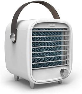 YGB Ventilador de Mano Aire Acondicionado portátil Vintage Pequeño USB Ventilador de enfriamiento de Escritorio Recargable Caja de Hielo incorporada con luz de Noche LED