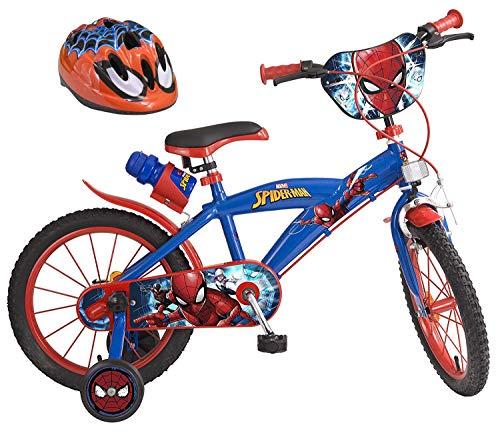 Marvel Ultimate Spider-Man Kinderfahrrad 16 Zoll + Fahrradhelm Gr. 51-55 cm   Trommelbremse Trinkflasche