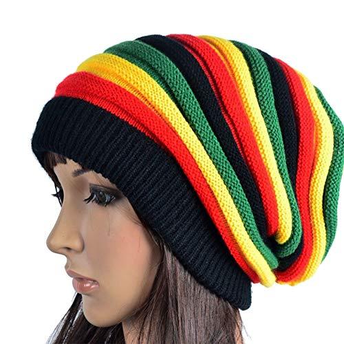 YLNNB Winter Hip Hop Bob Jamaican Mütze Rasta Reggae Hut Multi-Color Striped Beanie Hüte Für Männer Frauen Stil Männlich Caps Gorros Touca