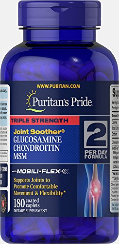 Puritans Pride Triple Strength Glucosamine, Chondroitin and Msm Joint Soother, 180 Count