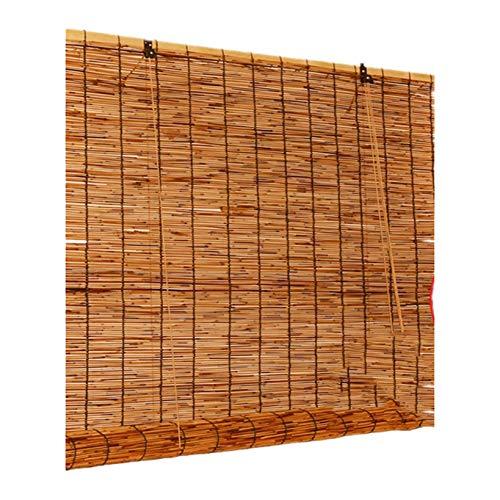 DLMSDG Natural Cortina de Lámina, Persianas De Bambú, Cortina de Paja Natural Retro, ponible y práctico, Tejido a Mano, para persianas, particiones, techos, 2pcs(150x180cm/59x72in)