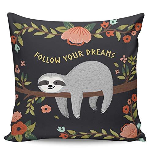 Scrummy Fundas de almohada de 50,8 x 50,8 cm, color gris, divertido, con diseño de perezoso y flores de ocio, diseño de dibujos animados, para decoración del hogar