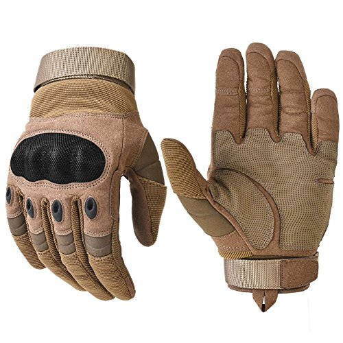 Military Hard Knuckle Tactical Gloves Motorcycle Gloves Motorbike ATV Riding Army Combat Full Finger Gloves for Men Airsoft Paintball Tan Medium