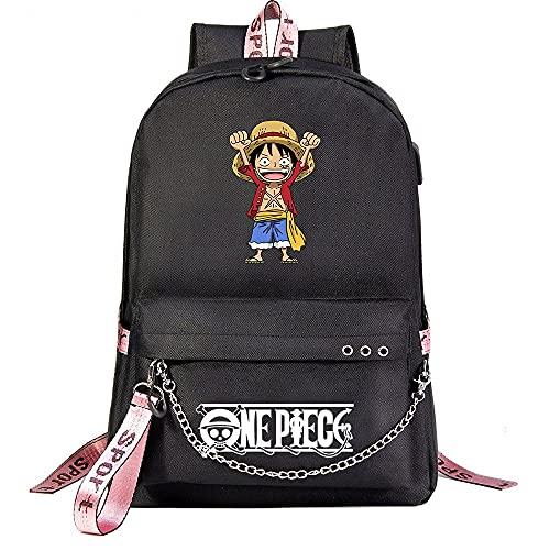 ZZGOO-LL One Piece Monkey·D·Luffy with Chain USB Anime Laptop Backpack Bag Travel Mochilas Daypacks Bolso Ligero Black-B