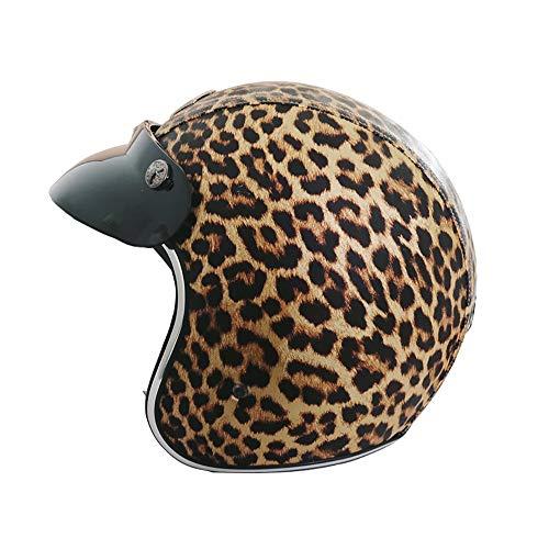 Xwenx Casco para hombres y mujeres, retro certificado DOT, casco retro con estampado de leopardo, casco de motocicleta para bicicleta, Cruiser Chopper, ciclomotor, scooter, ATV, L