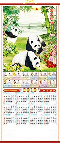 Feng Shui Import Calendario De Desplazamiento De La Pared China 2019 Con Imagen De Panda