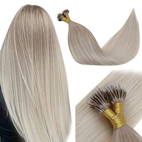 LaaVoo Nano Link Hair Extensions Human Hair Balayage Blonde Natural Straight Brazilian Hair Ash Brown with Platinum Blonde Nano Extensions Human Hair 22 Inch 50g/50strands