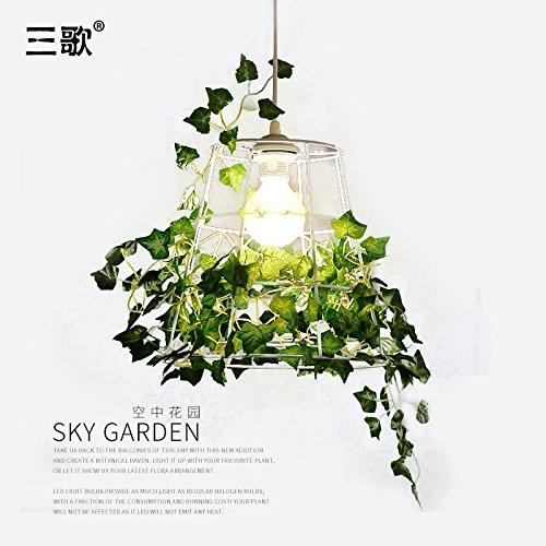 Quietness @ Ciondolo illuminazione LED moderno lampadario industrie creative Loft lampadario per sala da pranzo Camera da letto Soggiorno warehouse unico bianco (con piante artificiali)