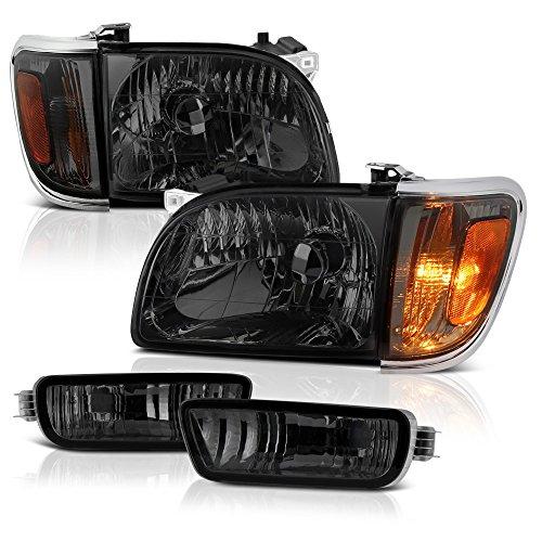 VIPMOTOZ Chrome Smoke OE-Style Headlight & Turn Signal Corner Lamp Assembly For 2001-2004 Toyota Tacoma Pickup Truck, Driver & Passenger Side