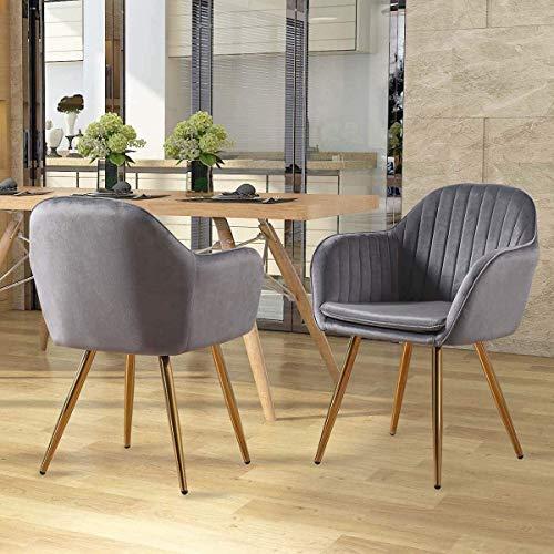 Stühle Kreativität Velvet Dining Chair Jahrgang Freizeit weich gepolstertem Sitz und Rückenlehnen, Küche, Wohnzimmer Corner goldenen Beine XMJ (Color : Grey)