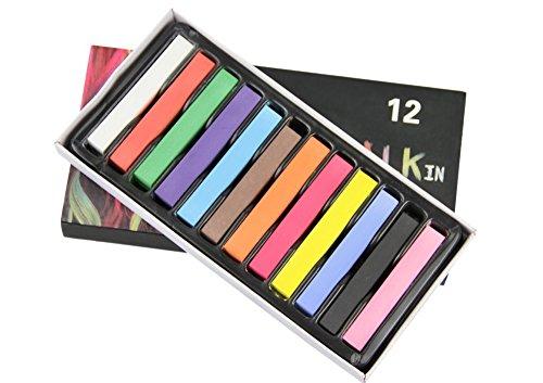 NYKKOLA Tijdelijke DIY Haar Krijt Kleur Haar Pastel Haar Kleurrijke Salon Kit Voor Fancy Jurk Kostuums - Niet giftig 12 stuks.