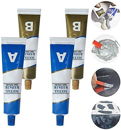 Pasta de reparación de metal de soldadura en frío industrial resistente al calor A & B pegamento de gel adhesivo, agente de reparación de aleación de aluminio de acero inoxidable 2 Set