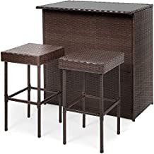 Best Choice Products 3-Piece All-Weather Wicker Bar Table Set for Patio, Backyard w/ 2 Stools, Glass Tabletop - Brown