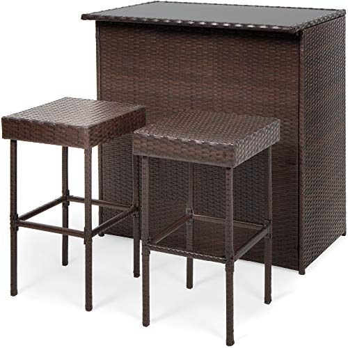 Best Choice Products 3-Piece All-Weather Wicker Bar Table Set for Indoor Outdoor, Kitchen, Patio, Backyard w/ 2 Stools, Glass Tabletop, Storage Shelves - Brown