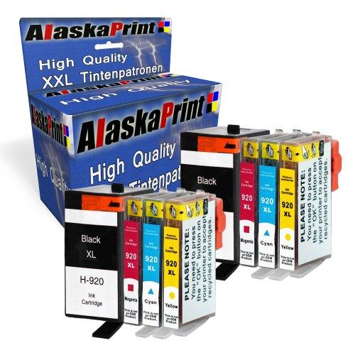 Alaskaprint 8 XXL Tintenpatronen Ersatz für hp 920xl 920 XL kompatibel mit HP Officejet 6000 6500 7000 7500 7500A 6500A Plus E709 Drucker mit aktualisierten Chips und Füllstandsanzeige