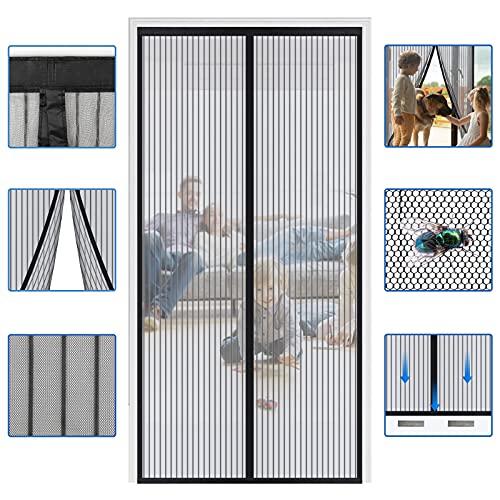 Reinforced Widen Magnetic Screen Door - Heavy Duty Hands Free Full Frame Hook&Loop Fit Door Up to 39×82 Inches (Black)