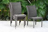 Atlantic Patio Atlantic Bari 4-Piece Patio Stackable Chairs Set Wicker | Ideal for Outdoors and Indoors, Beige/Gray