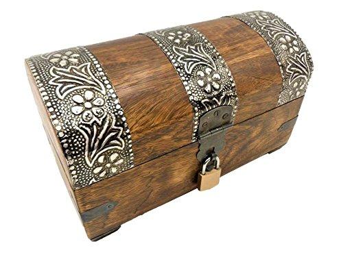 Geschenkhaus-Tom 22KS Schatzkiste Holzkiste Holzbox Truhe mit Schloss Aufbewahrungsbox Box Schatztruhe (k)