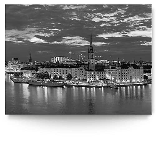 BilderKing Intensiv & Impostant 200x150cm großes Leinwand-Bild. Stockholm, nachts, Skyline als Wandbild auf 4cm tiefen Keilrahmen. Eindrucksvoller können Sie Ihren Raum Nicht in Szene setzen