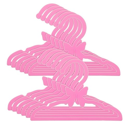 Dress Along Dolly Doll Clothes Hangers for 18' American Girl Dolls - Set of 12 Pink Butterfly Hangers
