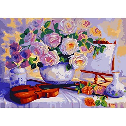 GKJRKGVF Frameloze muurstickers voor slaapkamers canvas schilderen op cijfers bruiloft decoratie afbeeldingen van bloem 40 * 50 cm