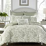 Laura Ashley Home | Natalie Collection | Luxury Ultra Soft Comforter, All Season Premium 7 Piece Bedding Set, Stylish Delicate Design for Home Décor, King, Sage