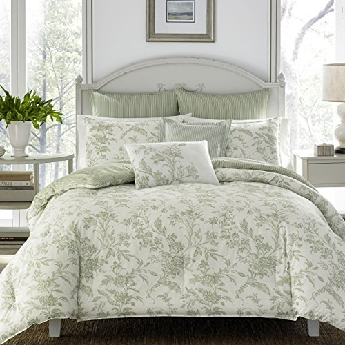 Laura Ashley Home | Natalie Collection | Luxury Ultra Soft Comforter, All Season Premium 7 Piece Bedding Set, Stylish Delicate Design for Home Décor, Full/Queen, Sage