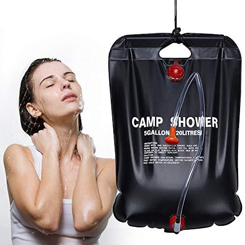Solardusche Campingdusche,20L Camping Dusche Tasche Tragbare Outdoordusche Solar Gartendusche Heizung Solardusche Camping Warmwasser Dusche Reisedusche Camping Wassersack für Camping,Outdoor,Survival