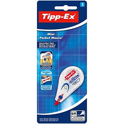 Tipp-Ex Mini Pocket Mouse Korrekturroller, 1 Roller, Korrekturband 6m x 5mm, Ideal für das Home Office, die Schule oder das Büro