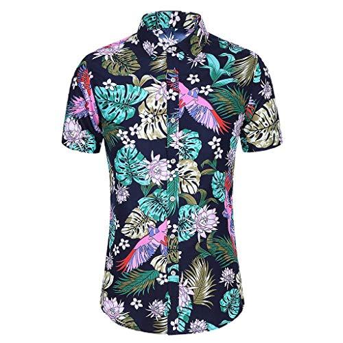 Yowablo T-Shirt Tops Hommes Mode Slim Lâche Hawaï Manches Courtes Imprimé Col Rabattu (M,6Multicolore)