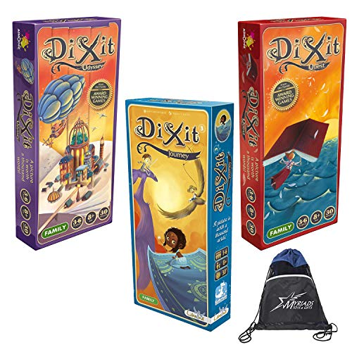 Dixit Expansion Bundle of 3: Journey, Odyssey, and Quest with Myraids Drawstring Bag