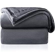 RATEL Mantas para Cama Gris Oscuro 200 × 230 cm, Mantas para Sofa de Franela Reversible, Mantas Ligeras de 100% Microfibra - Fácil De Limpiar - Extra Suave Cálido