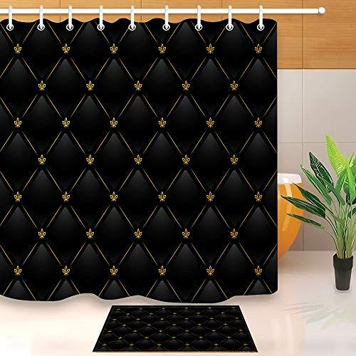 vrupi Schwarzes Leder mit Gold Duschvorhang gesetzt 3D-Druck mit 12 Haken wasserdichte Beschichtung Polyestergewebe Bad 71x71Zoll Indoor-Bodenmatte Bad Teppich 60x40cm