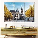 AWER Decoración para el hogar, arte de pared, pintura en lienzo, 3 piezas de lienzo de arte de pared,Catedral de Aachen, paisaje, carteles, imagen, dormitorio (marco)
