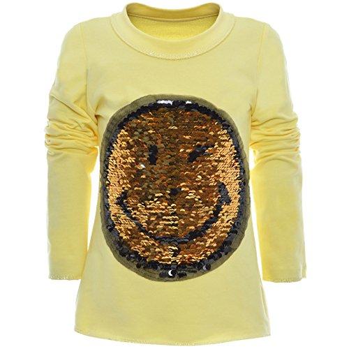 BEZLIT Mädchen Wende-Pailletten Long Shirt Bluse Pullover Langarm Sweat Shirt 20983 Gelb Größe 152