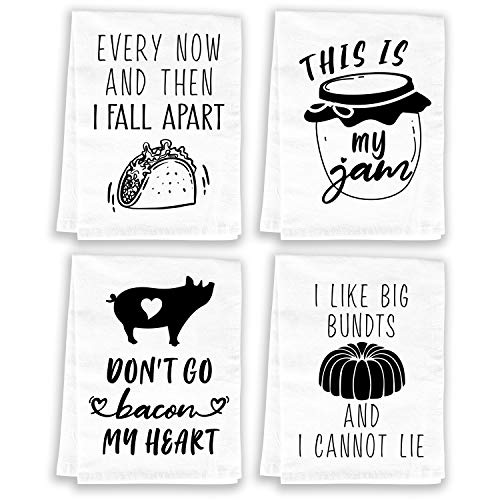 Miracu Funny Kitchen Towels and Dishcloths Sets of 4 - Birthday, Housewarming Gifts New Home - Cotton Dish Towels for Drying Dishes - Cute Decorative Hand Towels, Tea Towels, Flour Sack Towels, White