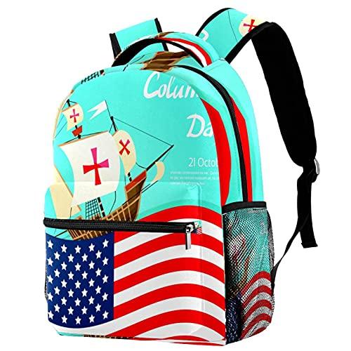 zaino bookbag daypack borsa da scuola escursionismo Zaino per laptop casual Alta capacità e outdoor ImparaHappy Columbus Day States America Bandiera per donne e uomini