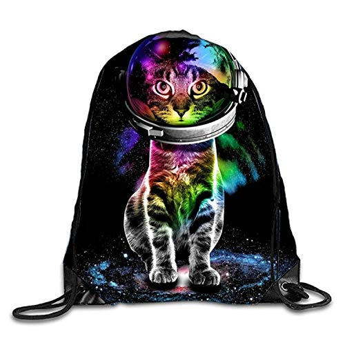 Lawenp Colors Astronaut Kitten Sackpack Mochila con cordón Mochila Impermeable Gymsack Daypack para Hombres Mujeres