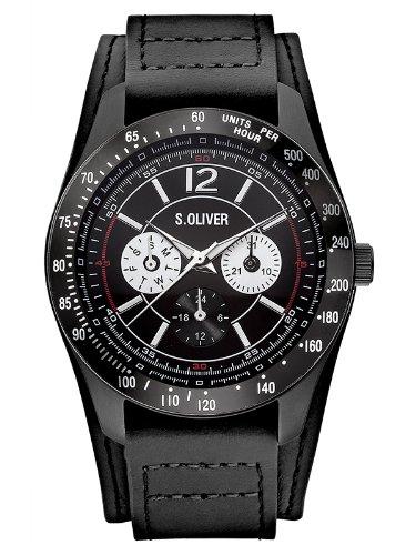 s.Oliver SO-2628-LM - Orologio da polso da uomo, cinturino in pelle colore nero