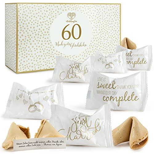 WeddingTree 60 x Glückskekse Hochzeit - Made in Germany - Einzeln Verpackt - Glückskekse mit Sprüchen deutsch - Gastgeschenk für Hochzeit und Verlobung - Hochzeit Deko