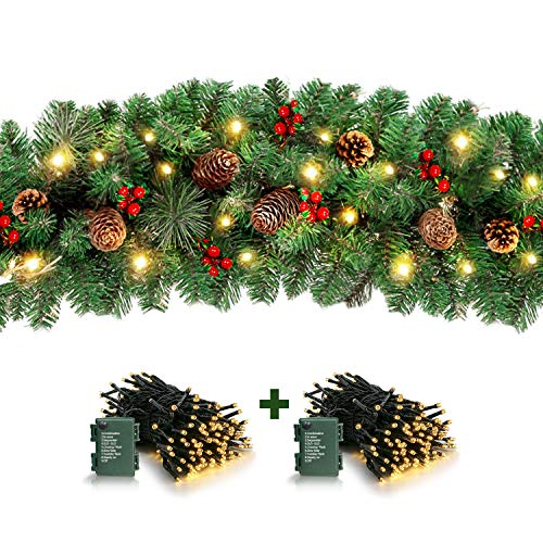 LASPERAL Christmas Garland with Lights, 9 Foot 100 Lights Christmas Garland 126 Red Berry, 36 Pine Cone Battery Operated Xmas Garland Greenery Decoration for Indoor Outdoor Fireplace Holiday