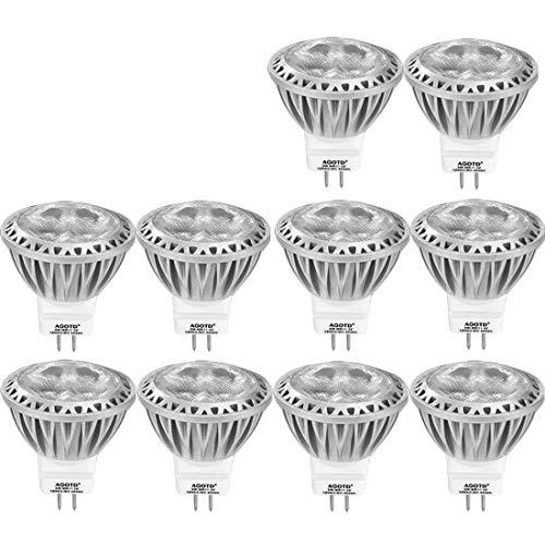 Led Gu4 Led MR11 12v kaltweiß, Agotd LED-Lampen Kaltweiss,35mmX38mm,3 W Spot, 12 Volt AC DC,GU 4.0 Sockel,ersetzt 20W 35W Halogenlampen,Leuchtmittel, 10er Pack