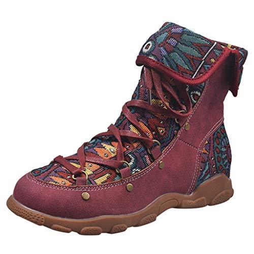DAIFINEY Damen Mid Trekking-& Wanderstiefel Nationaler Stil Wanderschuhe Leichte Outdoor Schuhe Tagestouren Atmungsaktive Hikingschuhe Travelling Stiefeletten Bequeme Strapazierfähige(Rot/Red,35.5)