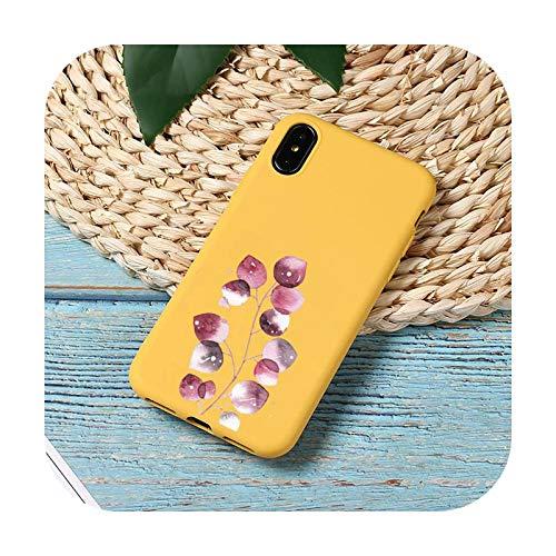 Funda para teléfono móvil con diseño de hojas, color amarillo y amarillo para iPhone 11 12 Mini Pro XS MAX 8 7 6 6S Plus X SE 2020 XR-a12-iPhone SE 2020