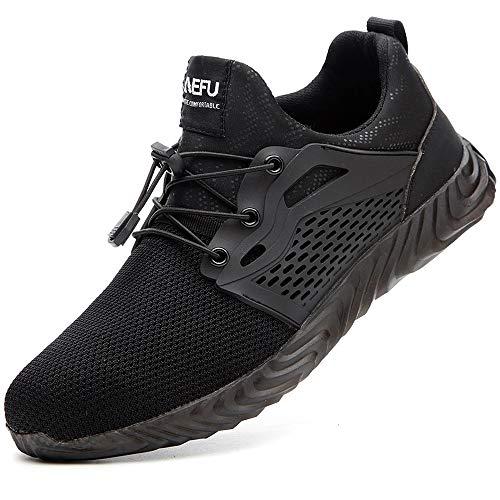 SUADEEX Sicherheitsschuhe Herren Damen Arbeitsschuhe S3 Leicht Sportlich Atmungsaktiv Schutzschuhe Stahlkappe Sneaker,8d-schwarz,44EU