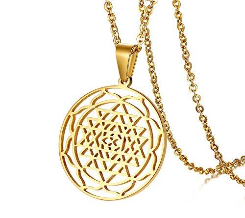 PJ JEWELLERY Gold Sri Yantra Anhänger Hinduismus Symbol Edelstahl Schmuck Sri Chakra Halskette, Amulett Talisman Charm Sign