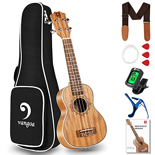Vangoa Soprano Ukulele Mahogany 21 Inch Professional Acoustic Ukelele Uke Beginner Kit for Kids Students Starter with Guide Book, Gig Bag, Nylon String, Tuner Picks, Cloth
