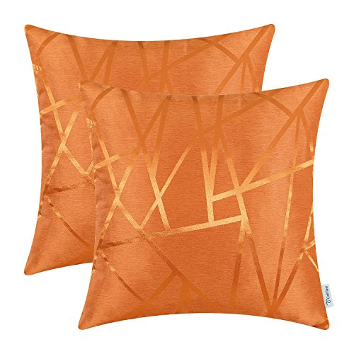 CaliTime Pack of 2 Throw Pillow Covers Cases for Couch Sofa Home Decor Modern Triangles Abstract Lines Geometric 18 X 18 Inches Bright Orange