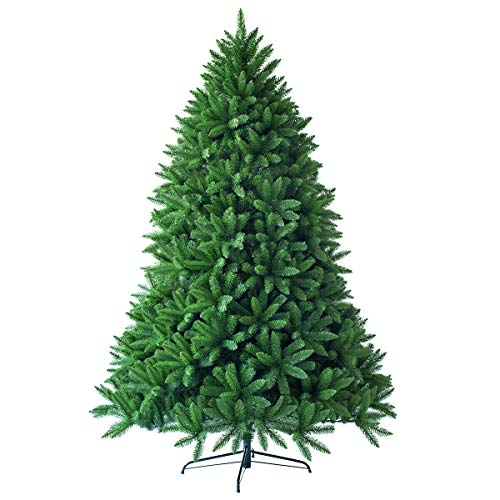 Goplus 5ft Unlit Artificial Christmas Tree, Premium Hinged Fir Tree, Easy Assembly with Metal Stand, Xmas Décor for Indoor and Outdoor (5ft)