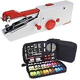 Máquina de coser portátil para principiantes, con 90 piezas de caja de costura, máquina de coser de reparación rápida para cortinas de mezclilla de cuero fácil de usar